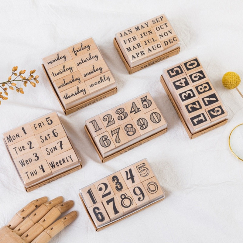 Unique DIY Wood Stamps For Letter Wood Stamps Number Month Pattern Multi-Function Wood Week Graffiti Stamps For Scrapbooking
