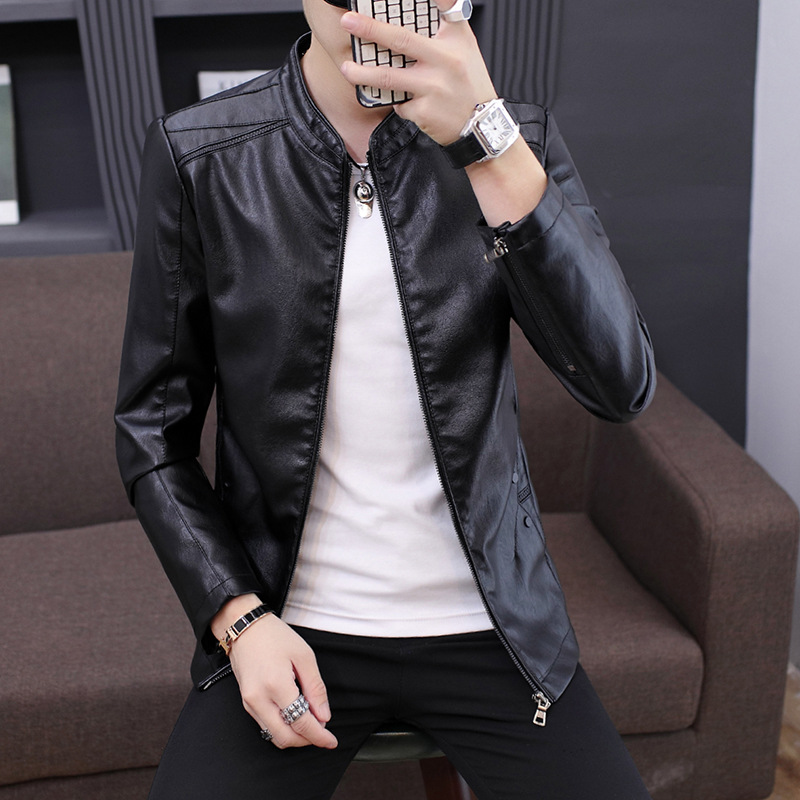 2019 New Style Men'S Wear PU Leather Jacket Men Stand Collar Jacket Korean-style Casual Leather MEN'S Outerwear Fashion
