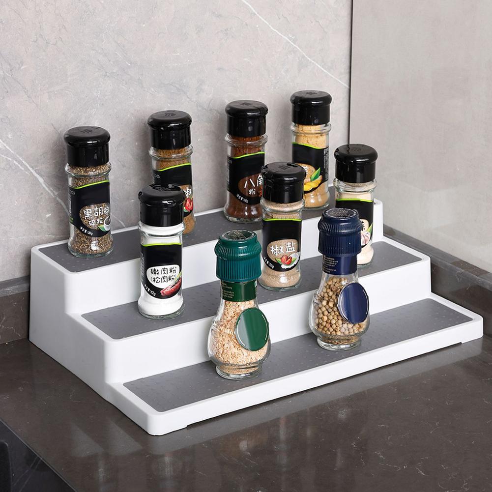 Домашняя кухня 3-уровневая полка для специй, соли, сахара, Ступенчатая Полка для шкафа, органайзер для бутылок, держатель для хранения бутыло...