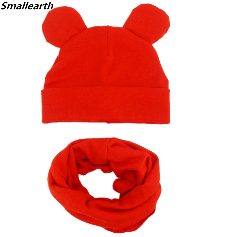 New Cotton Children Hat Scarf Set Children's Lovely Ears Caps Beanies Autumn Winter Boys Girl Hat Scarf Set Kid Hats Photo Props