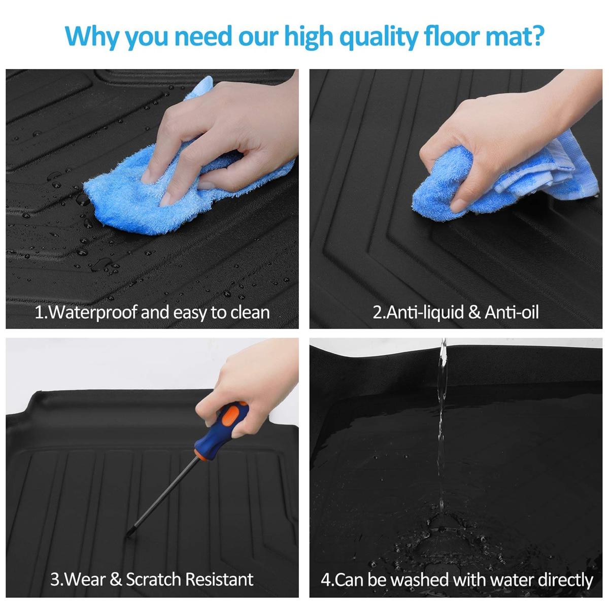 Audew 3 pièces TPO avant et arrière noir tapis de sol de voiture personnalisé ajustement tous temps tapis de sol couverture pour Tesla modèle 3 imperméable à l'eau Durable - 6