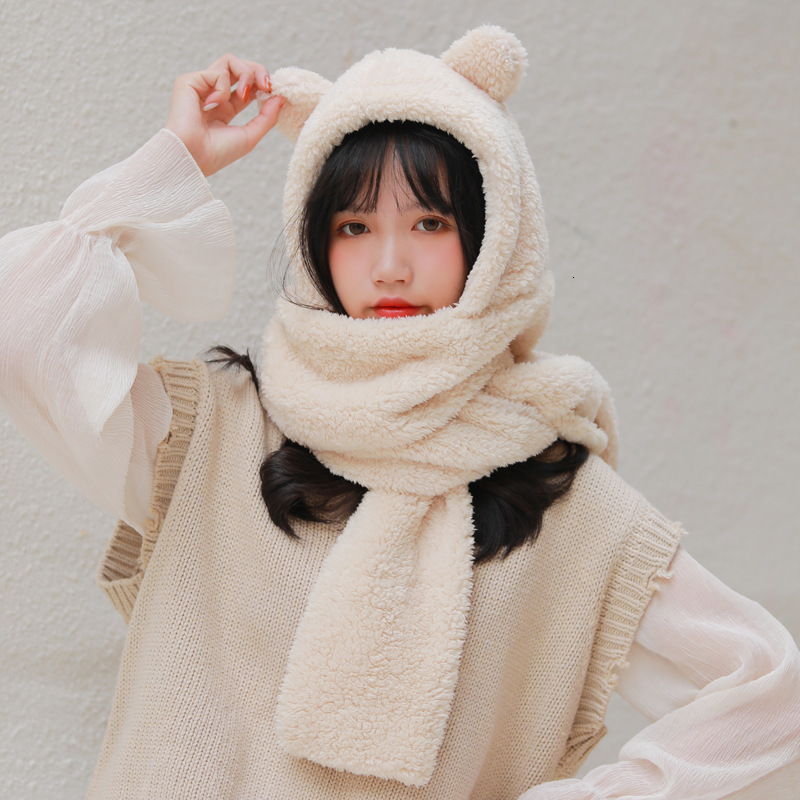 Winter Lovely Cute Bear Hats Scarf Set Twinset Thickening Lint Winter Keep Warm Imitation Fur Scarf Cap Sets