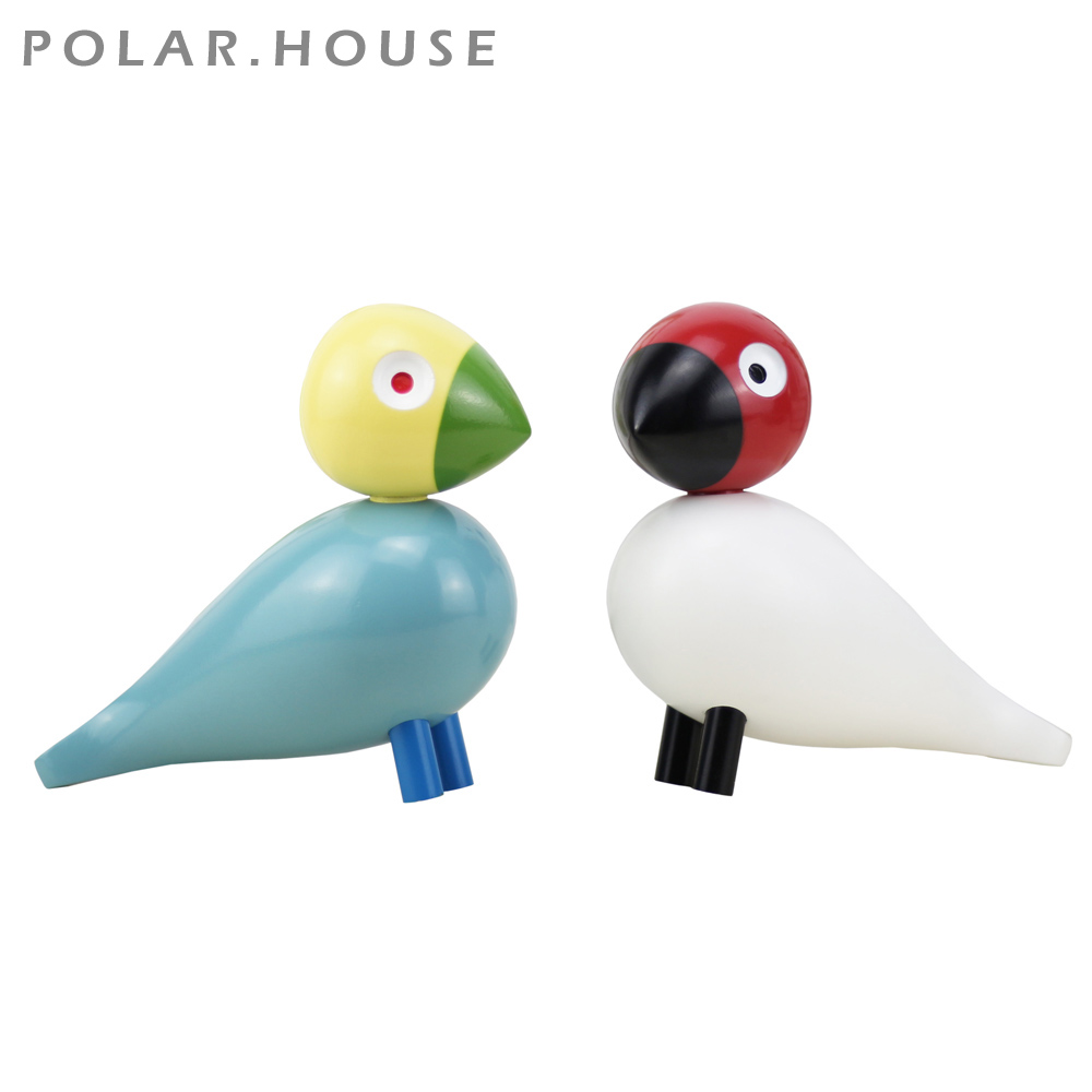Danish Gifts Wooden Lovebird Figurines Nature Oak Wood Birds Colorful Statue Animal Figure Home Decoration Accessories