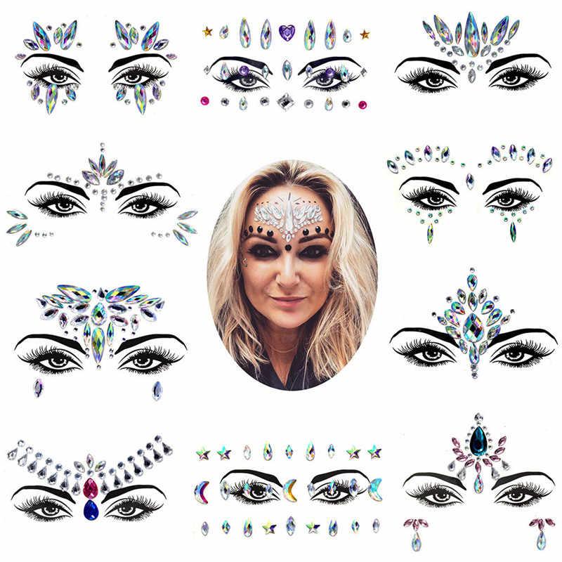 Kaş göz yüz yapıştırıcı akrilik reçine matkap elmas yüz sopa etiket el sanatları Rhinestone DIY telefon kılıfı takı Sticker