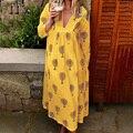 Новое Женское Платье на весну и лето, богемное платье с длинным рукавом и глубоким v-образным вырезом, свободное платье с принтом для беремен...