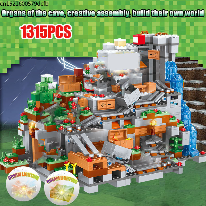 My World Mechanism Cave Building Blocks Compatible Legoed Minecraftingly Aminal Alex Action Figures Brick Toys For Children