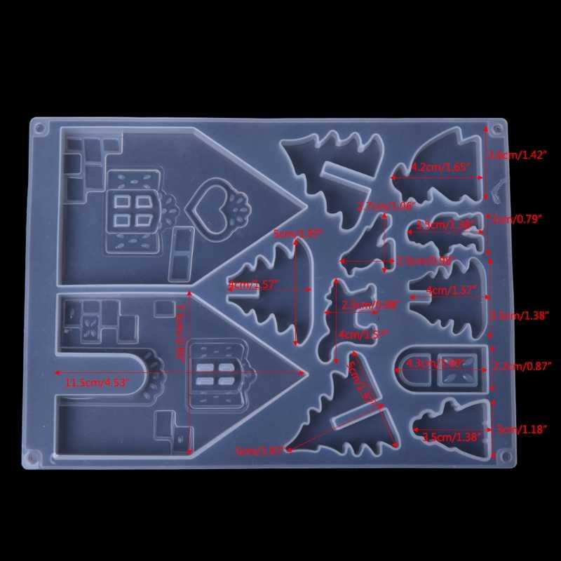 DIY ซิลิโคน Christmas House ปราสาทแม่พิมพ์อีพ็อกซี่เรซิ่นเครื่องประดับทำชุดเครื่องมือใหม่