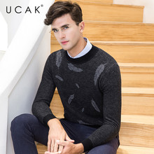 UCAK Brand 100% Merino Wool Sweater Men Fashion Pull Homme Winter Thick Soft Warm Cashmere Pullover Men Christmas Sweaters U3082