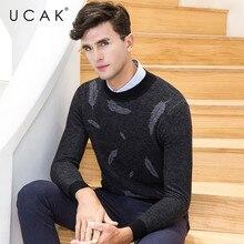 UCAK Brand 100% Merino Wool Sweater Men Fashion Pull Homme Winter Thick Soft Warm Cashmere Pullover Men Christmas Sweaters U3082