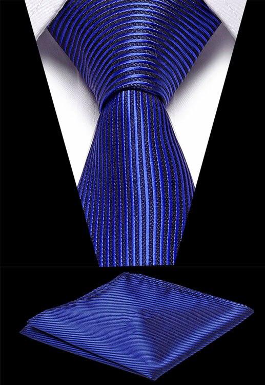 Wedding Men`s Necktie 7.5cm Silk Red Black Stripe Jacquard Woven Tie Handkerchief Set For Formal Dress Accessories Gift For Men