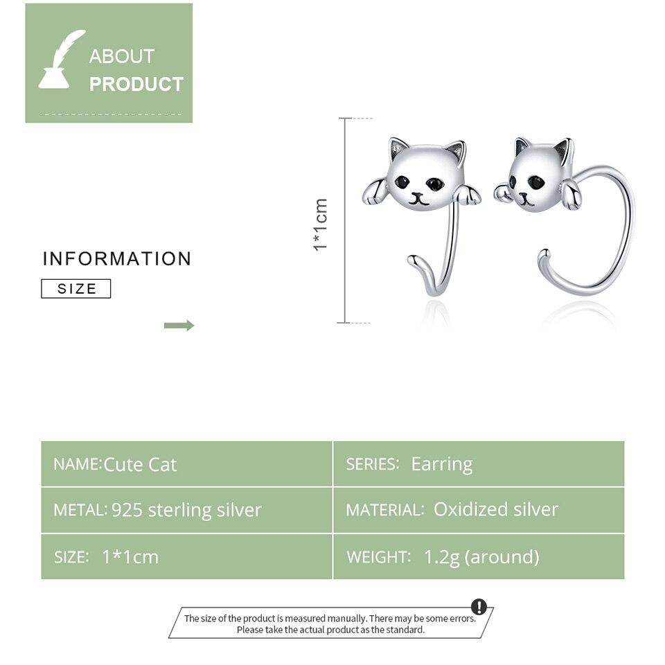 BISAER boucles d'oreilles 925 en argent Sterling mignon chat amour petit libre-Pick Design boucles d'oreilles pour les femmes en argent Sterling bijoux ECE965 5