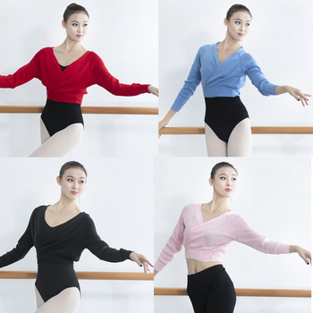 Ballet Dance Women Long Sleeves Classic Knit Wrap Tops Adult 4 Color Knitted Sweater Girls Warm Up Knitted Cardigan 150-170cm