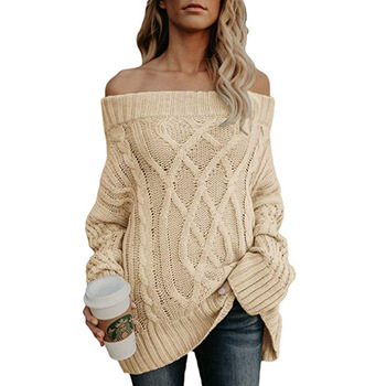 Autumn Women Sexy Off Shoulder Sweaters Casual Black Slash Neck Long Sleeve Pullovers Thick Twist Knitted Winter Sweater 2020 danjeaner long sleeve sweaters women 2018 autumn sexy off shoulder wrap knitted sweaters tops v neck slim pullovers jumper shawl
