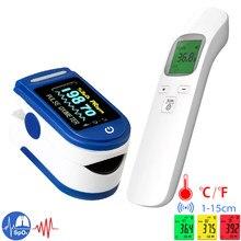 Mini oxímetro portátil do teste da saturação do oxigênio no sangue, termômetro infravermelho não-contato da orelha do calor para crianças