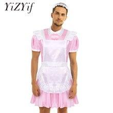 Männer Sissy Maid Black Kleid Cosplay Kostüm Crossdressing drehen unten Kragen Puff Sleeve Vordere Taste Unten Kleid und Schürze stirnband