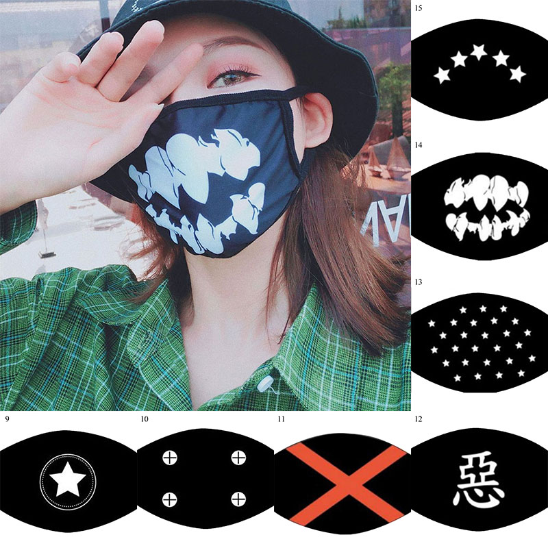 Korean Cartoon Print Anime Mask Black Mouth Face Mask Fashion Women Men Mouth Mask Anti Dust  Punk Reusable Mouth Mask Wholesale