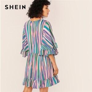 Image 2 - SHEIN Exaggerate Bell Sleeve Ruffle Hem Colorful Striped Dress Women Summer Autumn O Neck High Waist Boho Cute Short Dresses