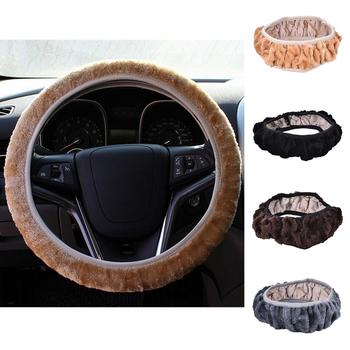 1 pc DIY short Plush Warm Fur Car Steering Cover Woolen Handbrake multi-color Car Accessories for autumn winter image