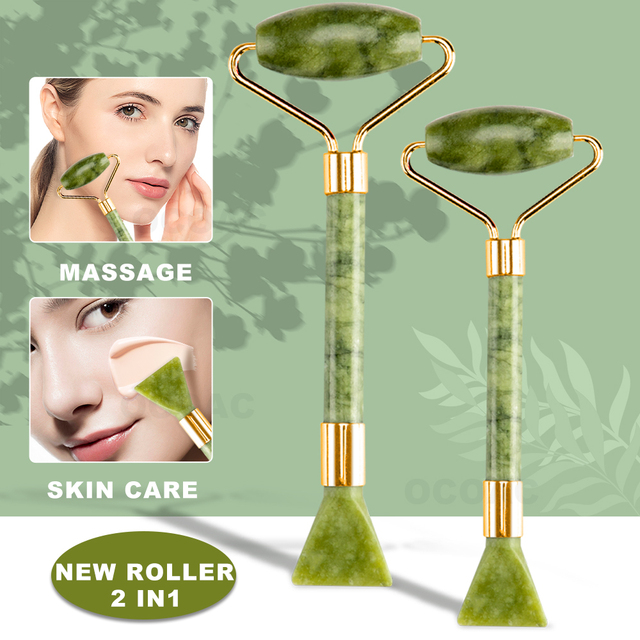 2pc jade pedra rolo de massagem facial para rosto natural massager verde guasha raspador conjunto fino elevador beleza emagrecimento ferramentas rolo 3