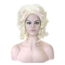 شعر مستعار الاصطناعية الشعر الأبيض شقراء ماري أنطوانيت الأميرة الباروكة لعيد الهالوين زي