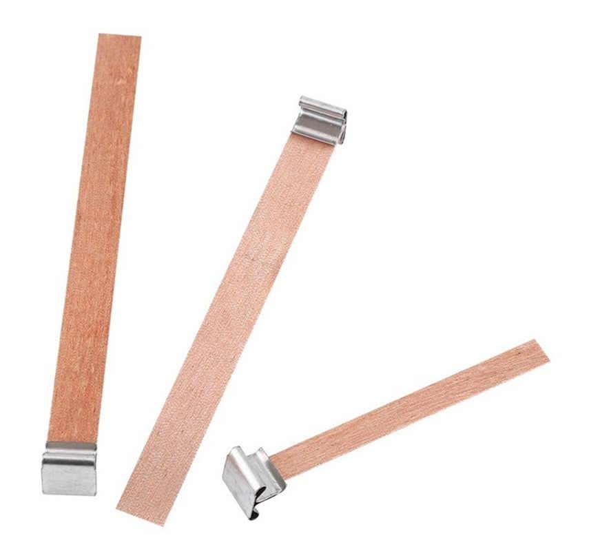 Velas de cera de madera de 1/5/10 Uds., soporte cuadrado de Metal con núcleo de mecha, pestañas de soporte de aleación, accesorios para fabricación de cera, suministros artesanales