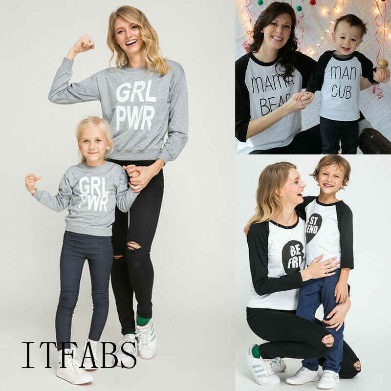Family Matching Clothes Mother Daughter Women Girls Tops Long Sleeve T-Shirt Tee