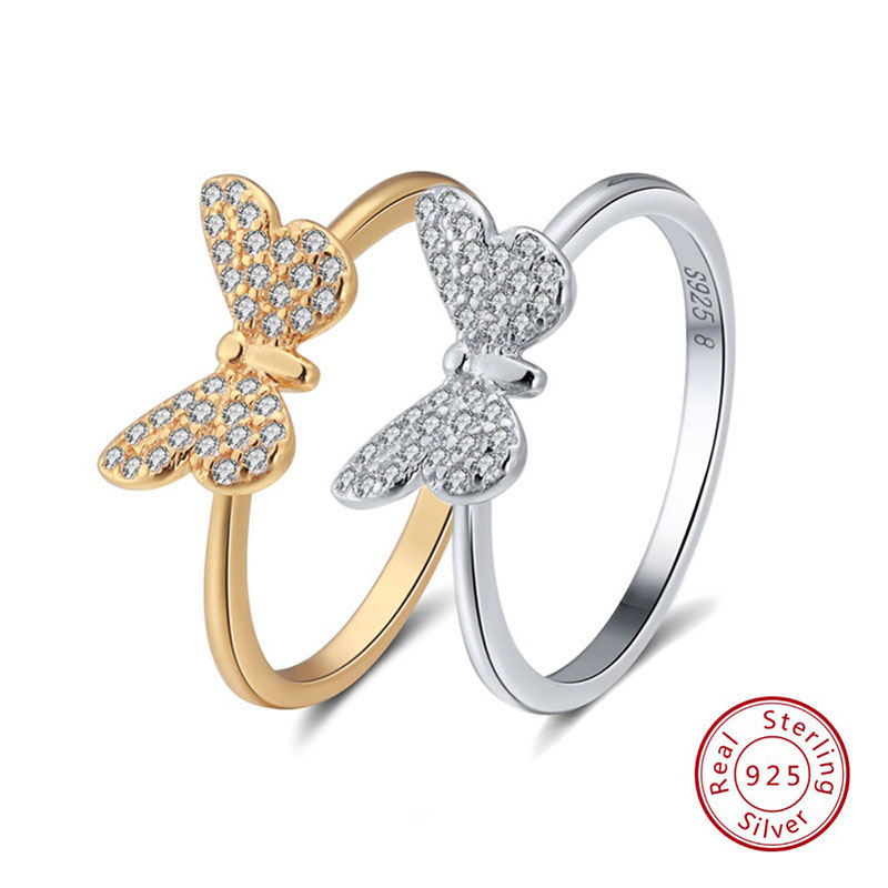 Effie Queen 925 Sterling Silver Women Ring Butterfly Pattern With AAA Shiny Zircon Female S925 Rings Fine Jewelry TSR59