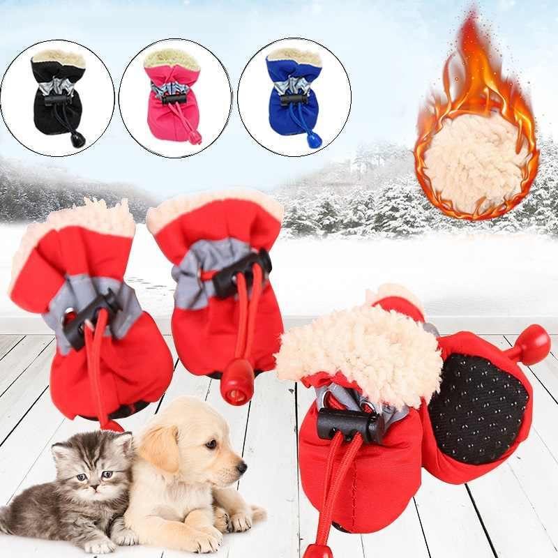 Pet Supplies Winter Warm Soft  Cashmere Anti-skid Rain Shoes for Pet Dog Cat