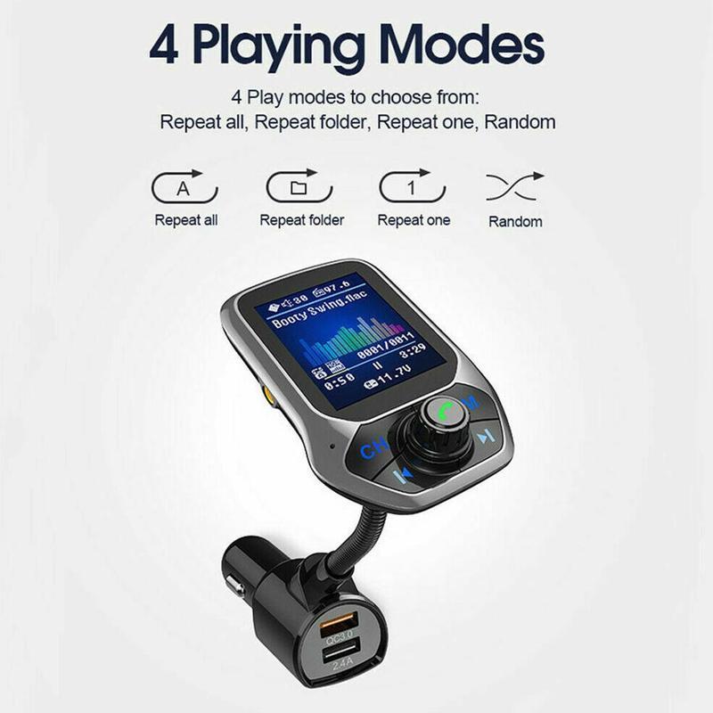 Bluetooth автомобильный комплект беспроводной Bluetooth набор громкой связи USB порт QC3.0 Быстрая зарядка цветной экран fm-передатчик MP3 музыкальный пл...