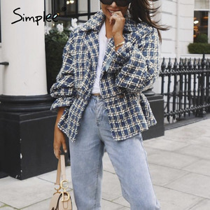 Image 2 - Simplee Elegant women plaid tweed jacket coat Lantern sleeve streetwear female outwear coat Elastic high waist ladies coat