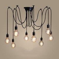רטרו שחור E17 הנורה 6 14 זרועות מתכוונן נברשת מודרני חדר אוכל סלון מטבח דקור-בנברשות מתוך פנסים ותאורה באתר