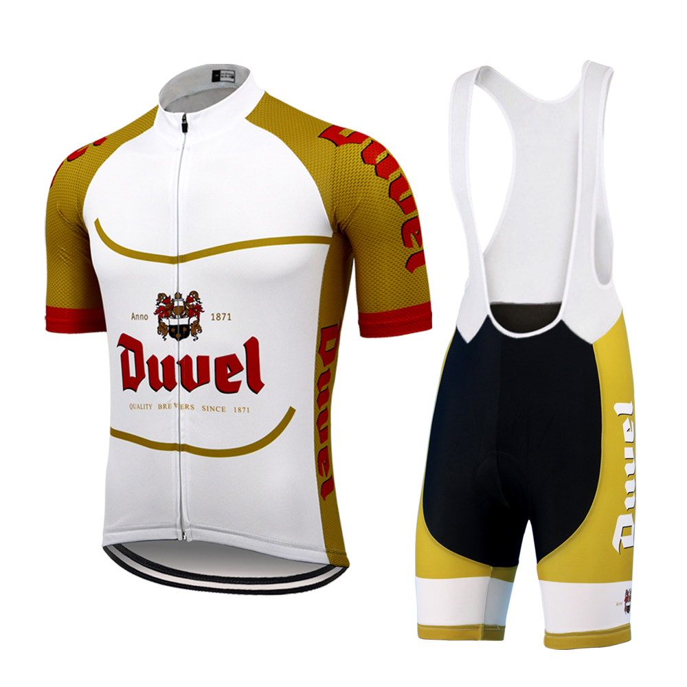 NEW Duvel Beer Men's Cycling Jersey Set Racing Bicycle Clothes Multi Gel Pad Short Sleeve MTB Jersey Set Maillot Ciclismo Hombre