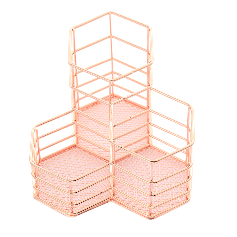 Pen Cup Holder For Desk Tidy Hexagon Iron Hollow Makeup Brush Organizer Stationery Storage Container Pencil Marker Gel Pen Holde