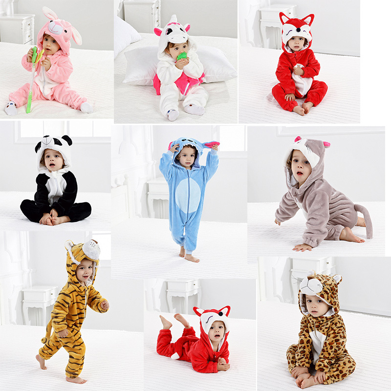 2018 New Flannel Baby Boys Girls Pajamas Animal Stitch Tiger Panda Fox Rabbit Pyjamas Kids Sleepwear Cosplay Onesie S-xl