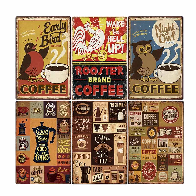 Sinal da barra de café placa de metal do vintage cafe pub club decorativo cozinha parede cartaz retro placa decoração para casa 20*30cm