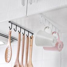 Preto/branco ferro 6 ganchos para cozinha suporte de copo pendurado banheiro cabide organizador porta do armário prateleira de armazenamento removido rack