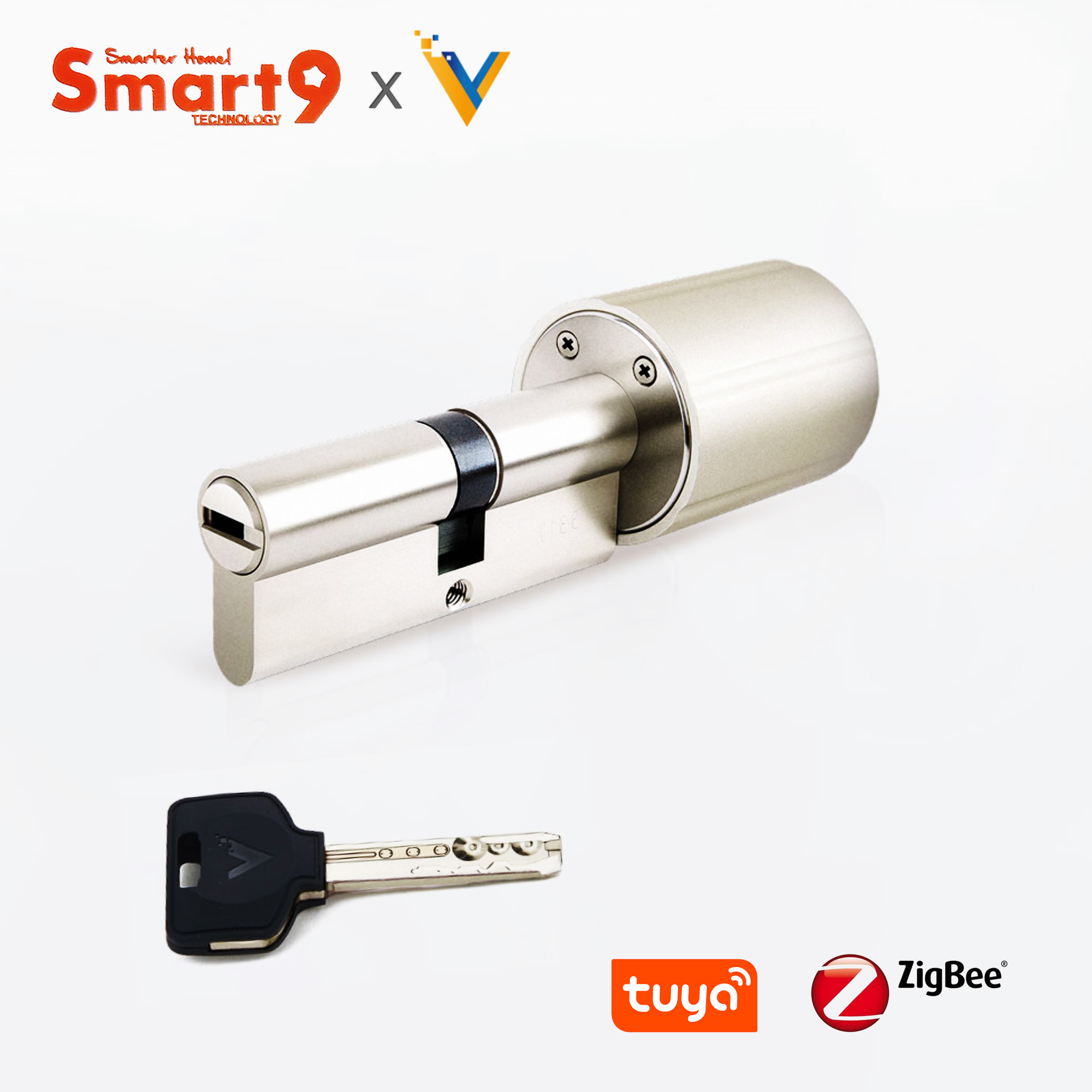 Core-Cylinder Tuya Smart-Lock Working with Zigbee Hub Battery-Powered And Chip-Encrypted-Keys title=