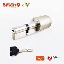 Smart9 زيجبي قفل ذكي اسطوانة الأساسية العمل مع تويا زيجبي المحور ، تعمل بالطاقة البطارية ومفاتيح مشفرة رقاقة مدعوم من تويا