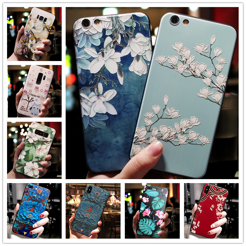 For <font><b>OPPO</b></font> <font><b>AX7</b></font> <font><b>Case</b></font> 3D Flower Silicone Emboss <font><b>Phone</b></font> Cover For <font><b>OPPO</b></font> A5S AX5S A83 F9 A39 A57 A7X A3S F11 Pro image