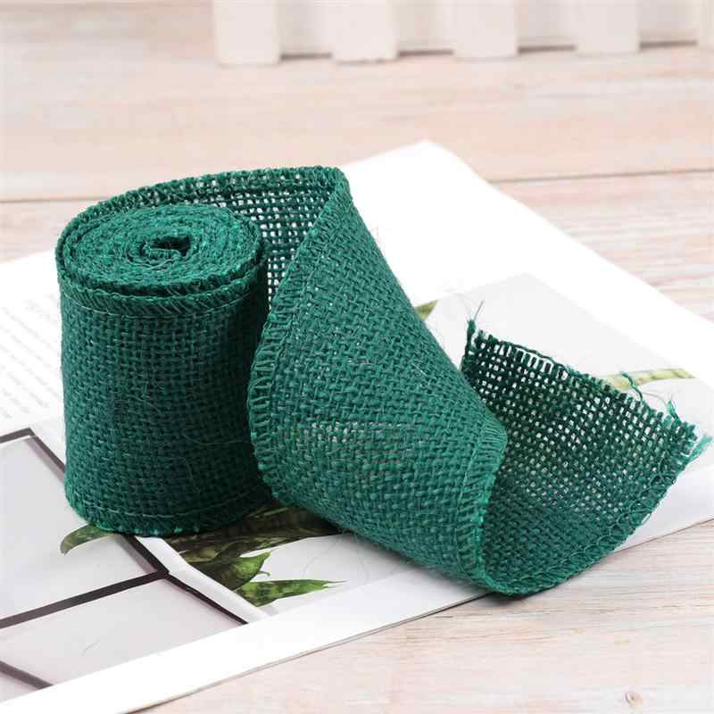 2M Jute Burlap Ribbon Roll for Christmas Decoration (Dark Green)
