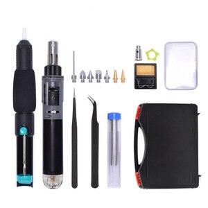 Image 5 - NEWACALOX Mini pistola de soldar de Encendido automático, Kit de pistola para soldar de Gas inalámbrico, reparación de soplete, estación de soldadura, punta, herramienta de pirograbado de madera
