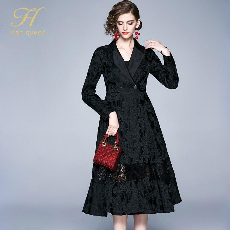 H han queen Winter Jacquard Dress Work Casual Slim Fashion Elegant Vintage Sexy Dresses Women A-line big swing Mid-calf Vestidos 27