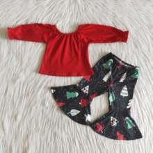 Boże narodzenie nowe zestawy ubrań dla niemowląt czerwone koszulki z długimi rękawami zimowe drzewo drukuj spodnie dzwony Fashional zestaw ubrań dla dzieci tanie tanio RED HEART COTTON spandex Dziewczyny W wieku 0-6m 7-12m 13-24m 25-36m 4-6y 7-12y 12 + y moda CN (pochodzenie) Lato Z okrągłym kołnierzykiem