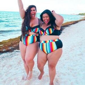 2020 New Fat Women Sexy Swimwear Push Up Padded Bikini set Rainbow Stripe Swimsuit Beachwear Bathing Suit Plus Size XL-5XL(China)
