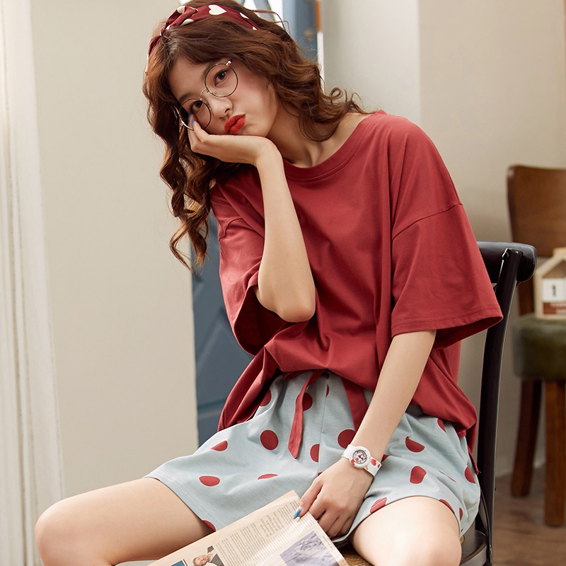 Short-sleeved Shorts Two-piece Pajamas Cotton Printing Women's Home Wear Loose Large Size Casual Summer Pijamas Women Cotton