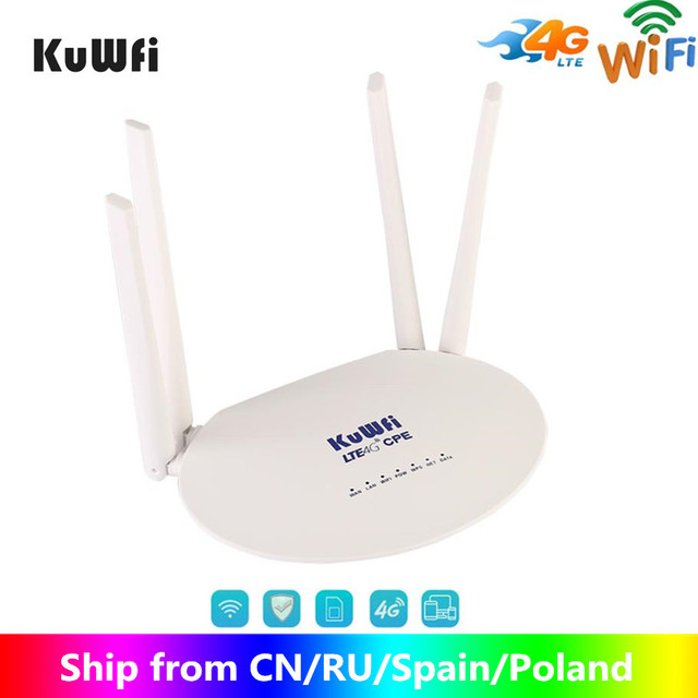KuWfi 4G LTE CPE Router 300Mbps CAT4 Routers inalámbricos CPE Router Wifi desbloqueado 4G LTE FDD RJ45 Puertos y ranura para tarjeta SIM de hasta 32 usuarios
