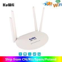 Kuwfi 4g roteador lte 150mbps cat4 roteadores cpe sem fio desbloqueado wifi roteador 4g lte fdd/tdd rj45ports & slot para cartão sim até 32 usuários