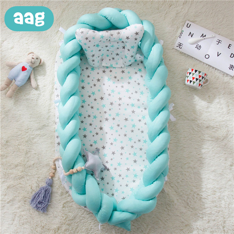 AAG Portable Travel Baby Bed Crib Baby Nest Cot Babynest Cradle Newborn Bed Bumper Baby Sleeping Support Pad Mattress Room Decor