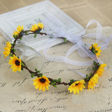 Simulation flower Headband festival decoration Travel and vacation photo props Artificial yellow rattan sunflower Wreath цена и фото