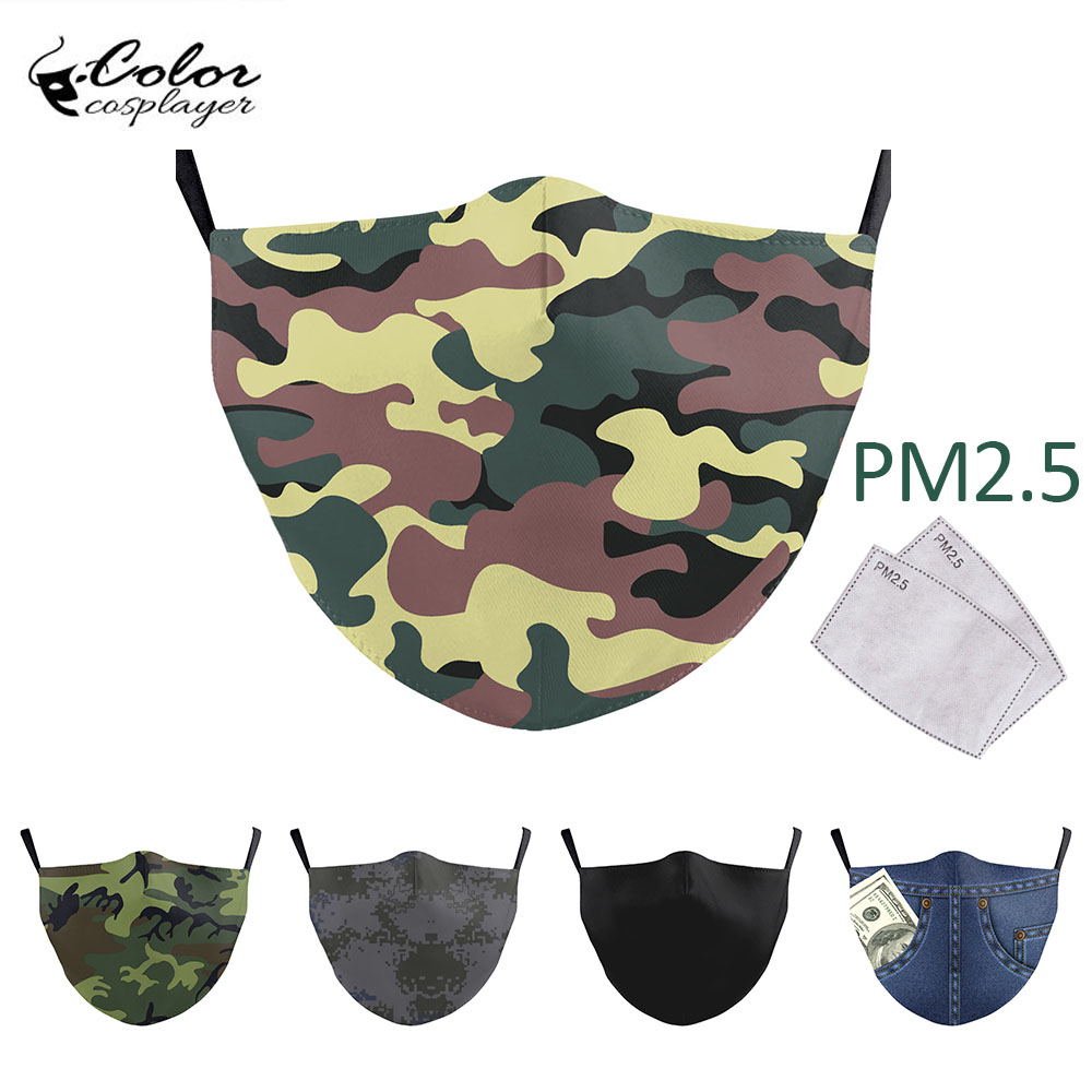 Color Cosplayer Adult Classic Solid Color Face Mask Camouflage Print Washable Fabric Masks Reusable PM 2.5 Protective Dust Mask